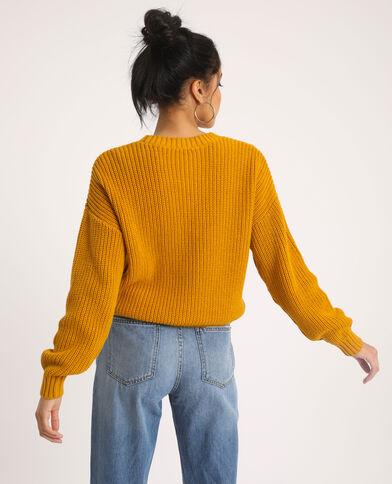 Pull à torsades jaune - Pimkie