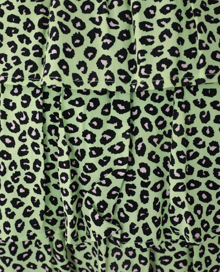 Robe léopard volantée vert - Pimkie
