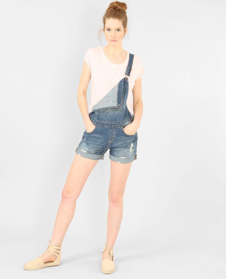 Salopette short en jean bleu denim