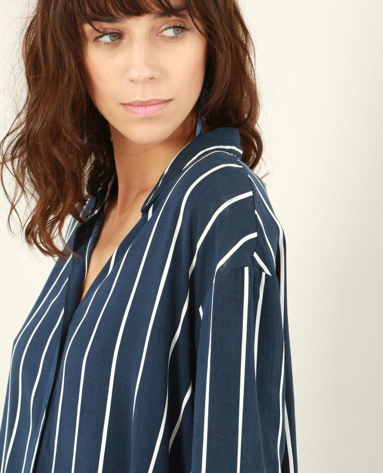 Robe chemise rayée bleu marine