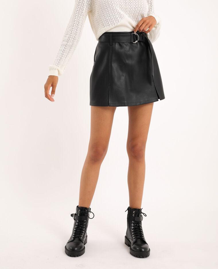 Jupe short simili cuir noir - Pimkie