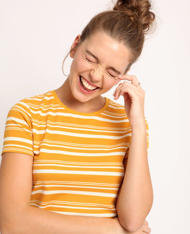 T-shirt à rayures jaune