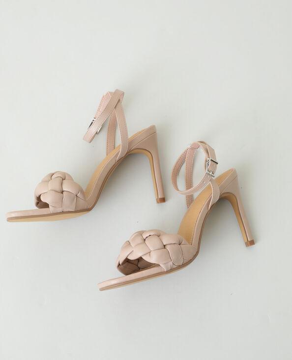 Sandales tressées à talons aiguilles rose nude - Pimkie