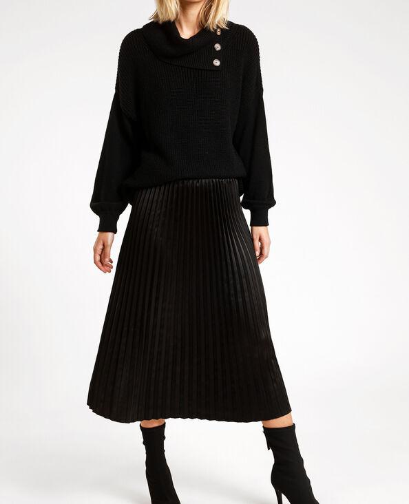 Jupe plissée satinée noir