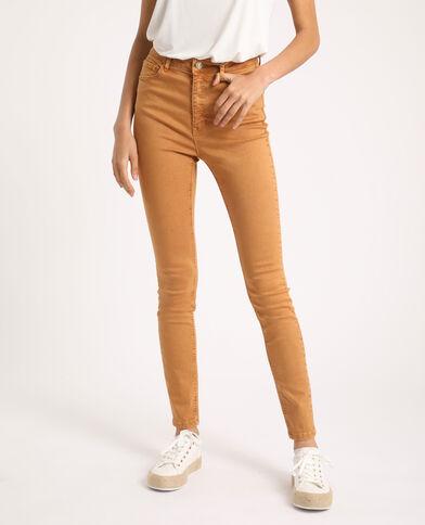 Pantalon skinny high waist beige poudré