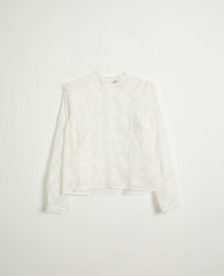 Blouse en dentelle blanc cassé - Pimkie