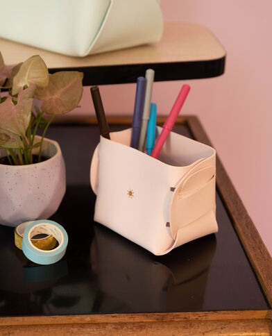 Petite box de rangement en simili cuir rose pastel - Pimkie