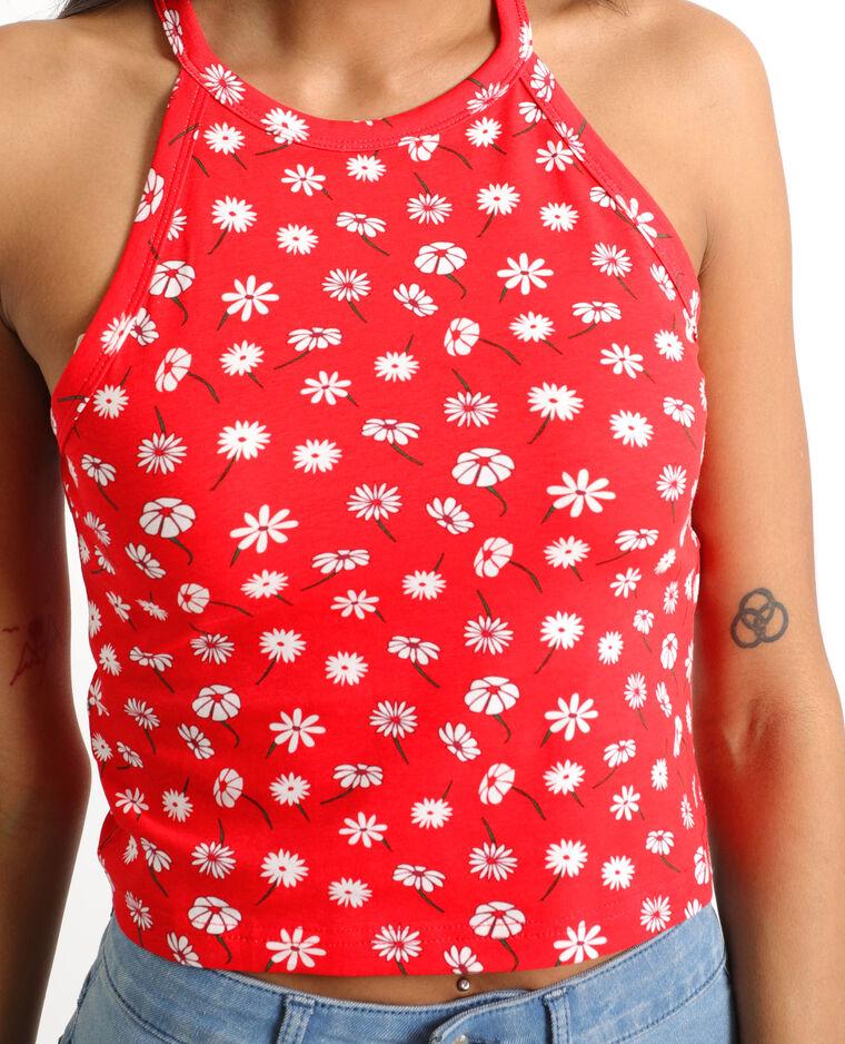 Cropped top à fleurs rouge