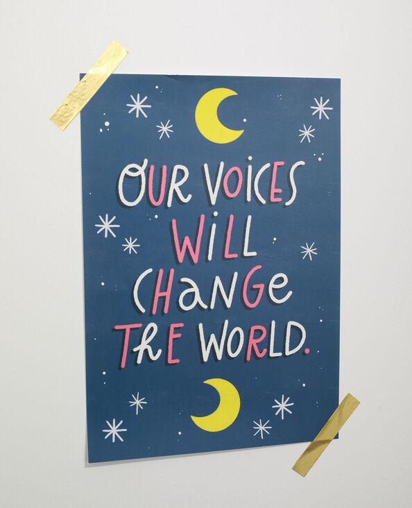 Affiche petit format à message - Collab Lavilletlesnuages bleu - Pimkie