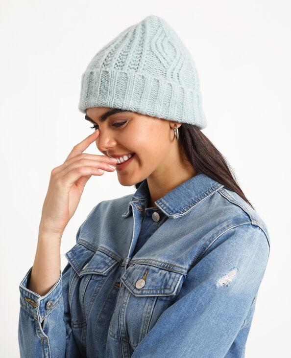 Bonnet tressé bleu ciel