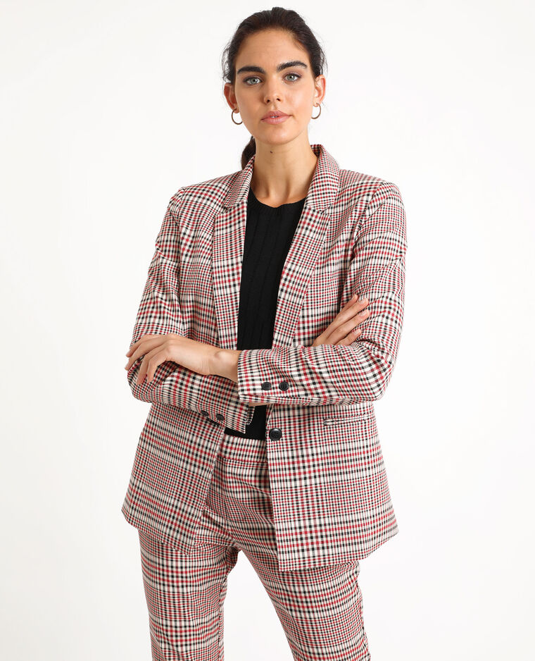 Blazer à carreaux beige + rouge