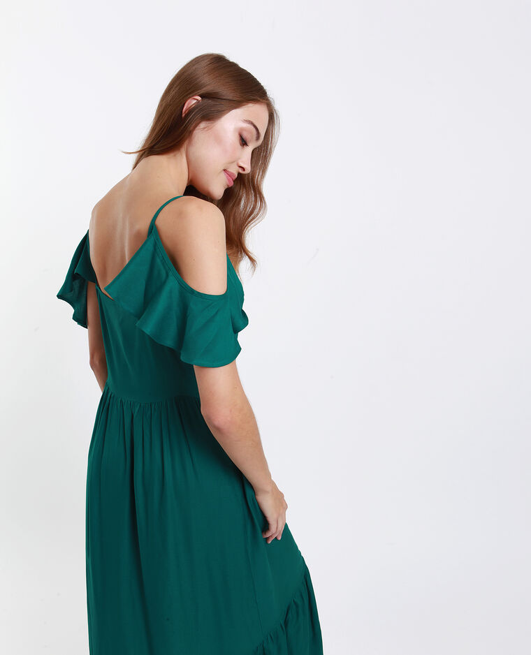 Robe longue boutonnée vert