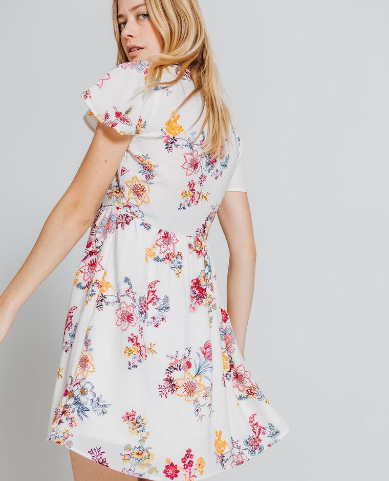 Robe imprimé fleuri blanc cassé