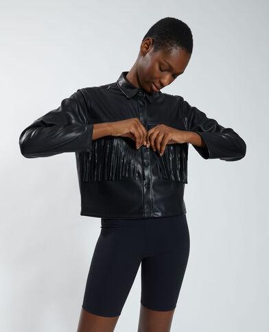 Chemise en simili cuir à franges noir - Pimkie