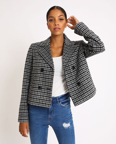 Manteau court à carreaux gris