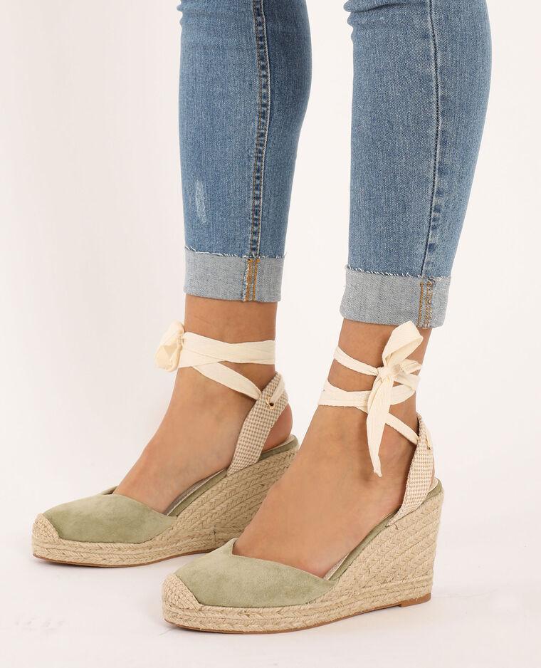 Sandales compensées en paille kaki