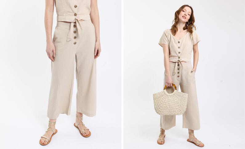 Pantalon en lin gris