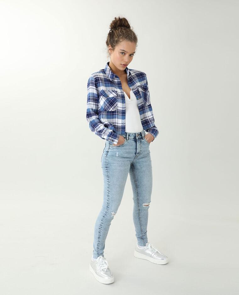 Jeans skinny trashé bleu clair - Pimkie