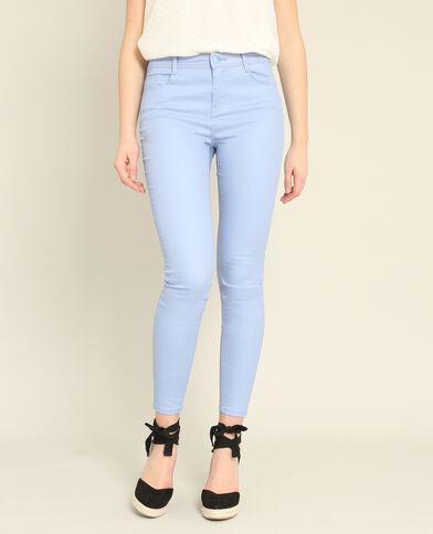 Pantalon skinny enduit bleu ciel