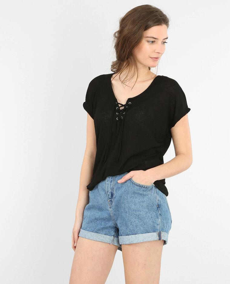 T-shirt à lacet noir