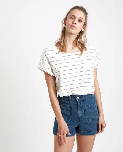 T-shirt rayé blanc cassé