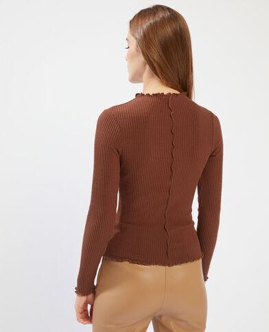 T-shirt côtelé et ondulé marron - Pimkie