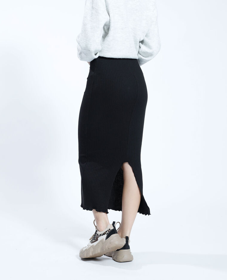 Jupe longue côtelée noir - Pimkie