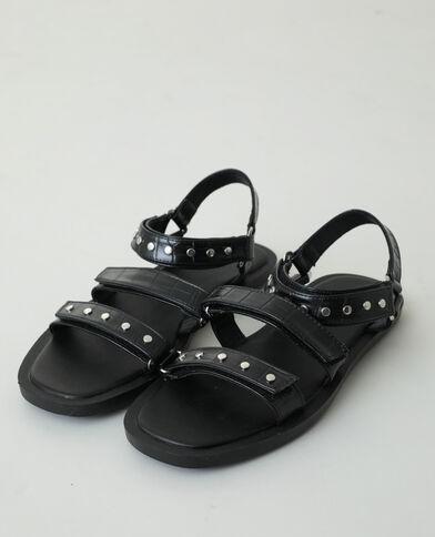 Sandales effet croco cloutées noir