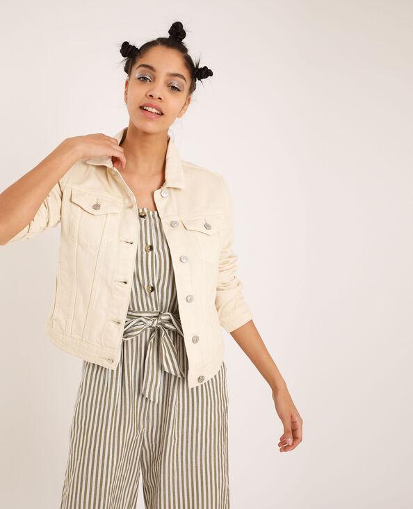 Veste en jean blanc cassé
