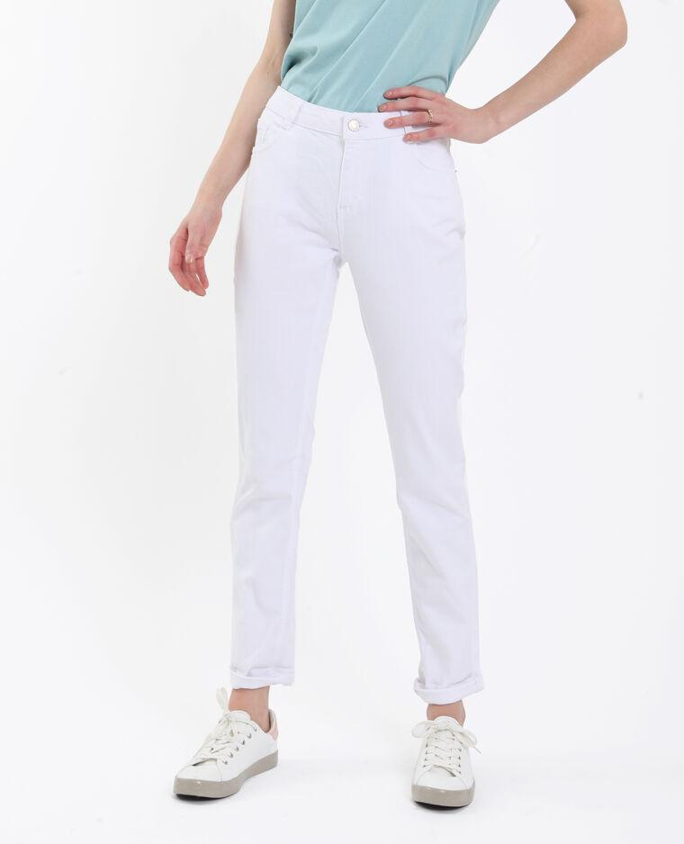 Jean straight mid waist blanc