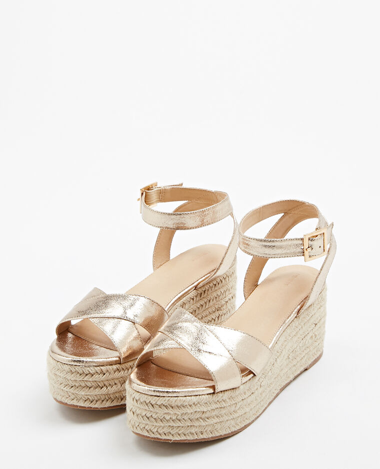 Sandales compensées doré