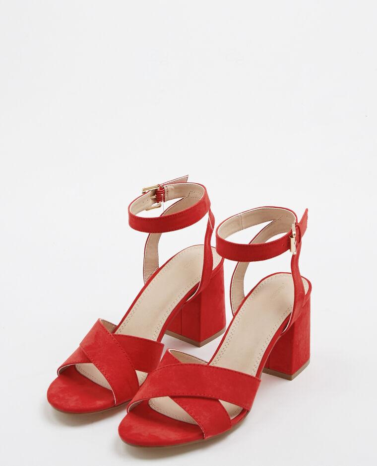 Sandales à talons carrés rouge - Pimkie