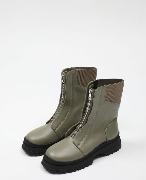 Boots zippées vert - Pimkie