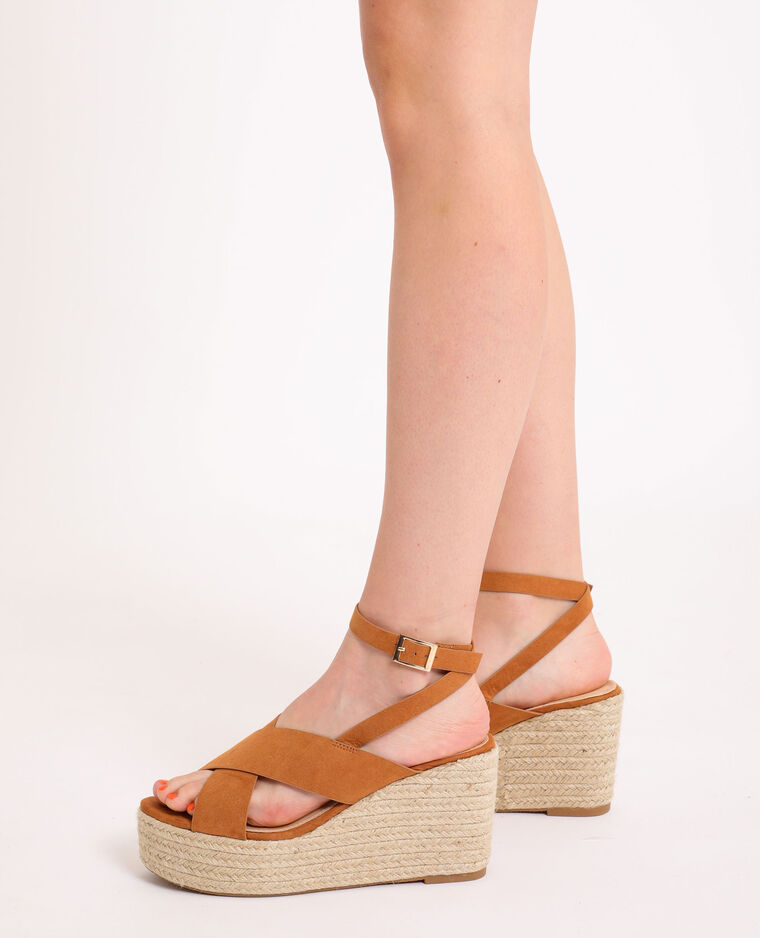 Sandales compensées en corde caramel