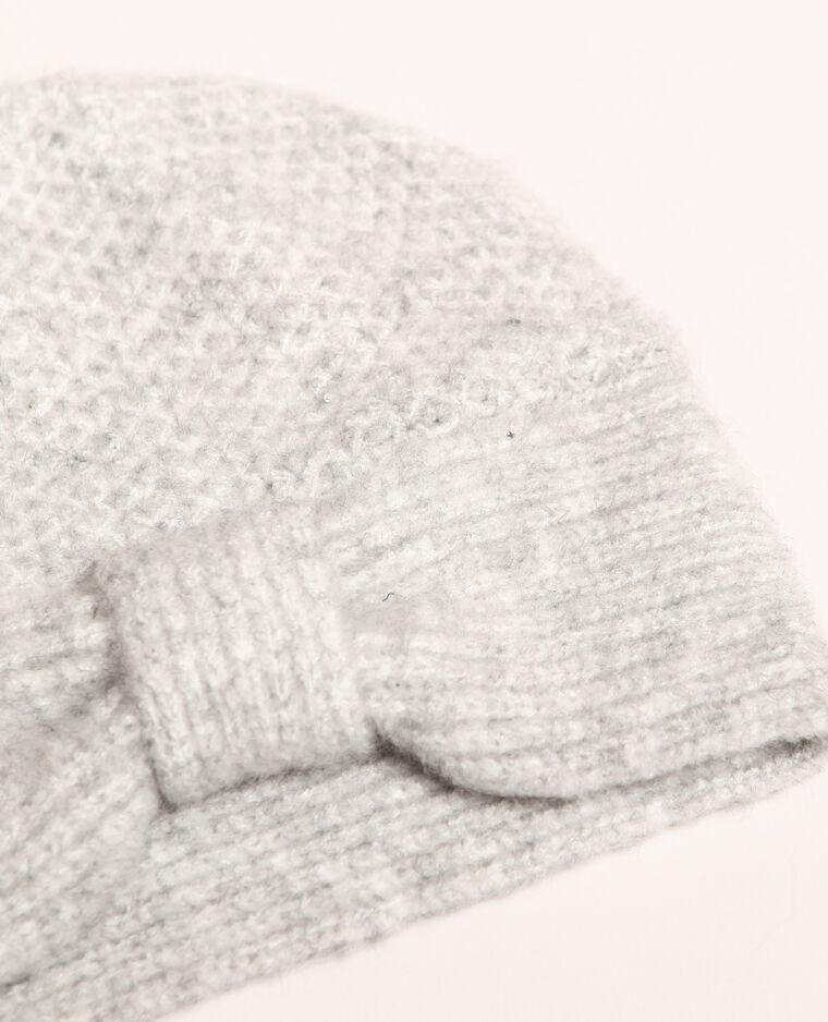 Bonnet avec nœud gris perle