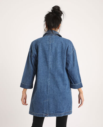 Manteau long en jean bleu denim