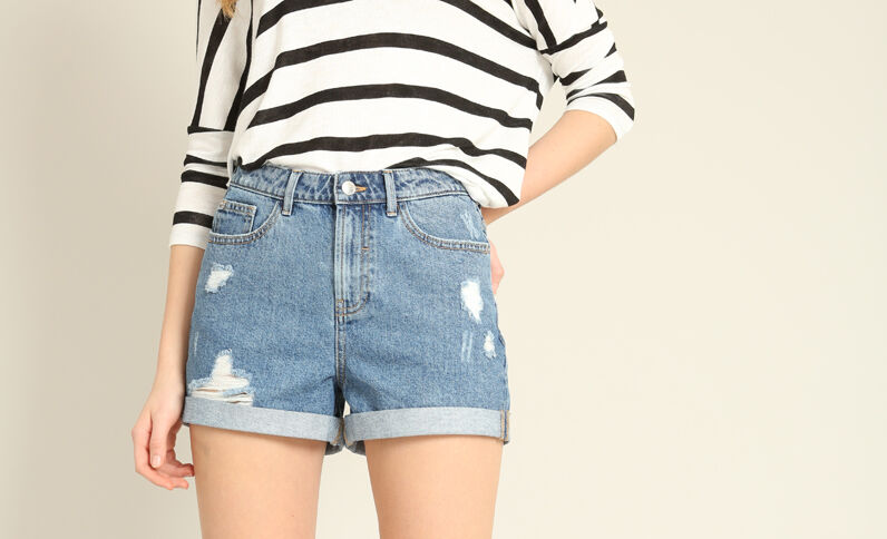 Short en jean mum bleu denim
