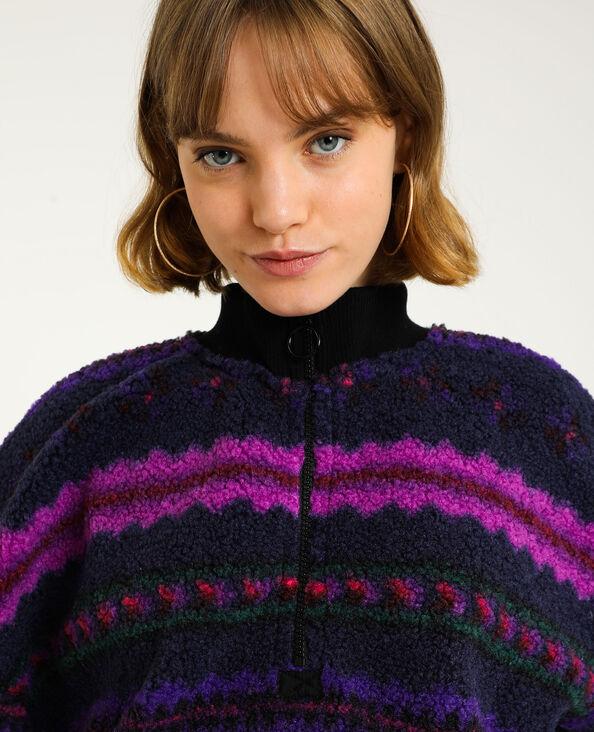 Sweat zippé mouton violet