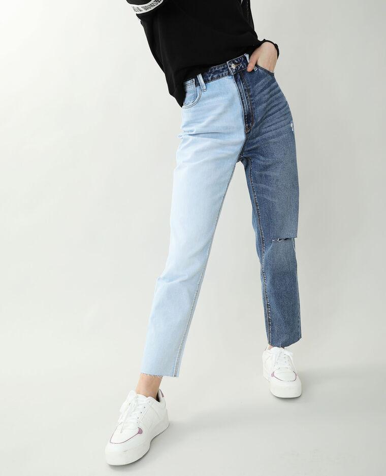Jean mom straight bleu denim