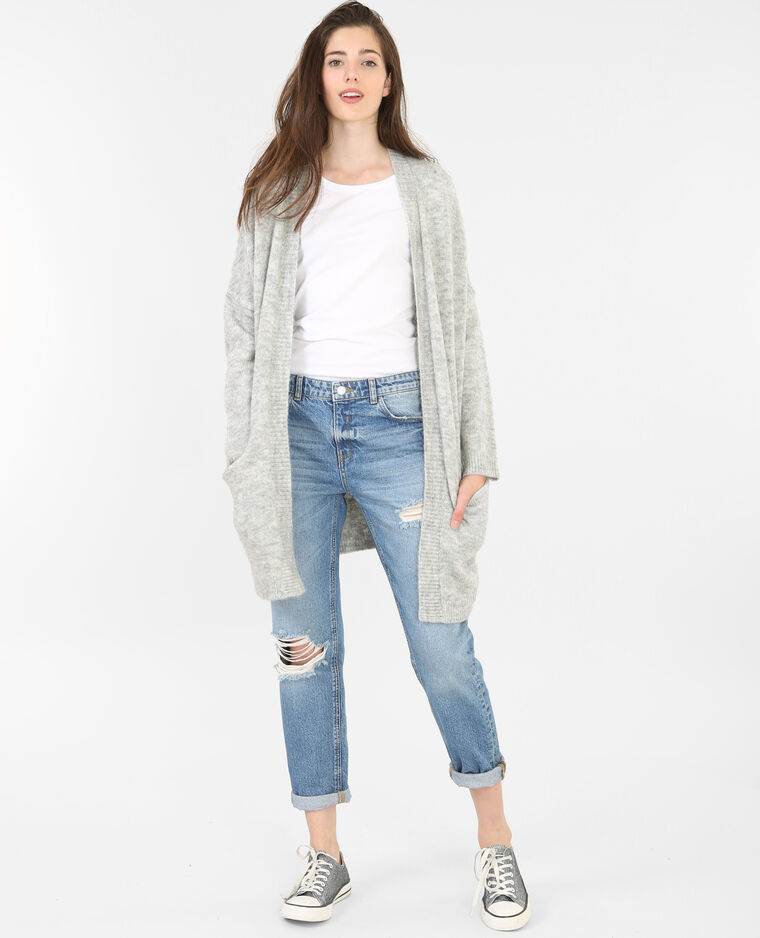 Long gilet gris chiné