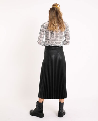 Jupe plissée simili cuir noir
