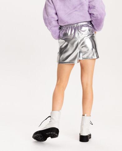 Short faux cuir gris