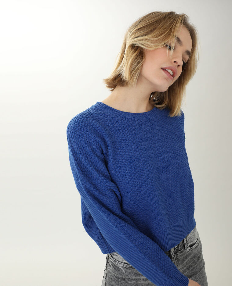 Pull maille reliefée bleu - Pimkie
