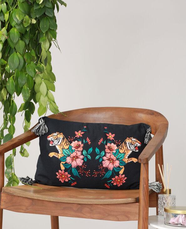 Coussin tigres et fleurs noir - Pimkie