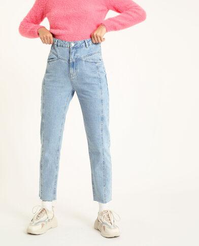 Jean droit taille haute bleu clair