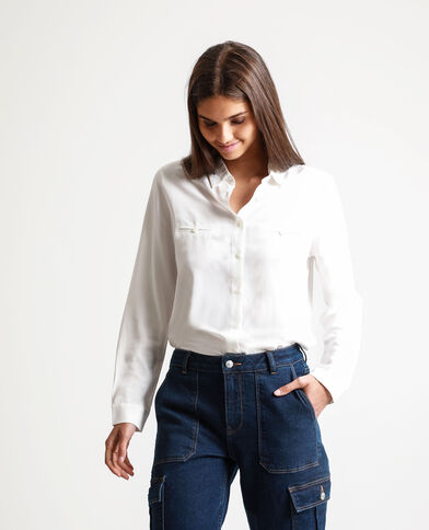 Chemise boutonnée blanc cassé