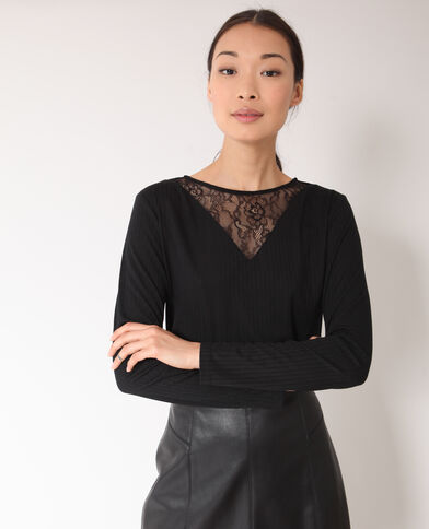 d9f6e36a373cf T-shirt dentelle noir