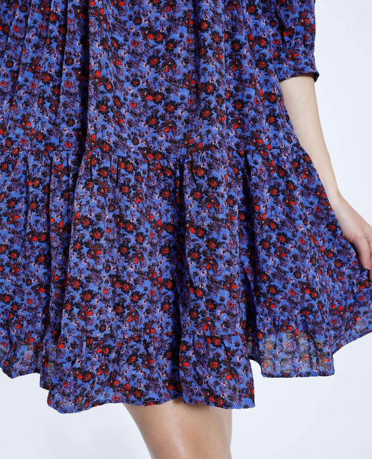 Robe courte fleurie et volantée violet - Pimkie