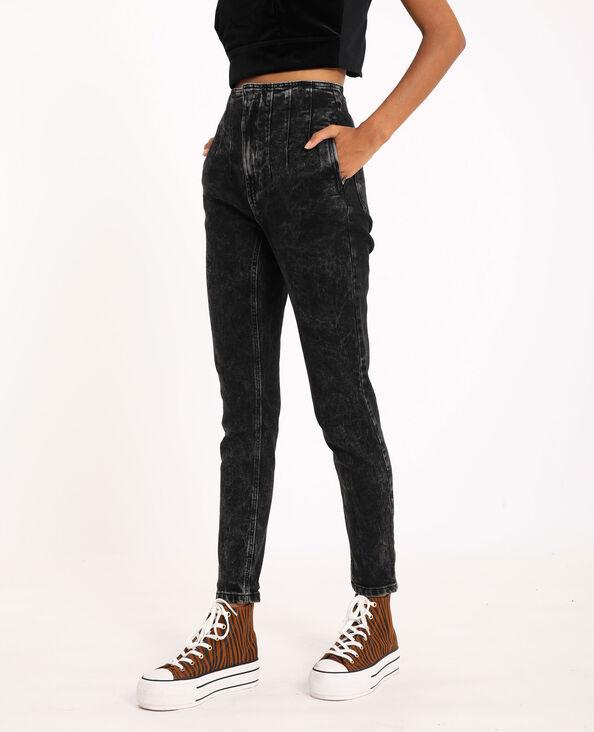 Jean skinny high waist gris délavé