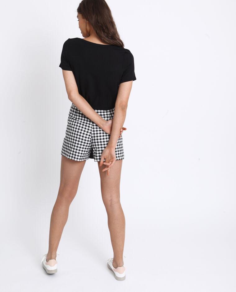 Jupe short vichy noir